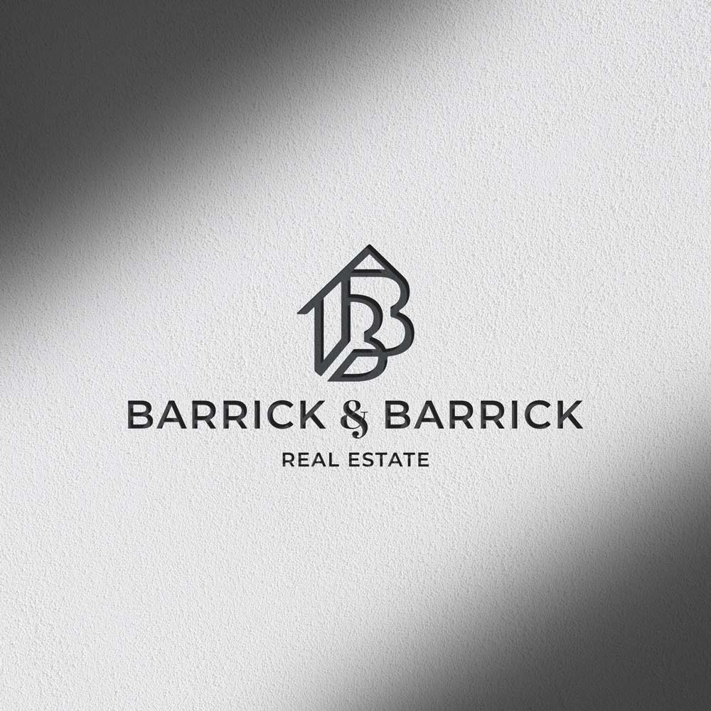 Barrick and Barrick Real Estate Logo on textured background.