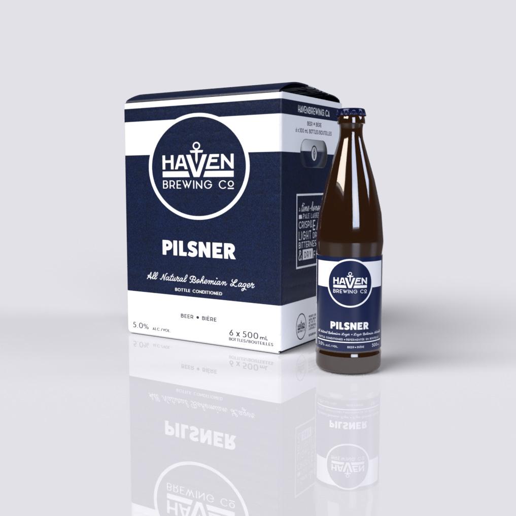 Haven Brewing company Pilsner box/bottle mockup