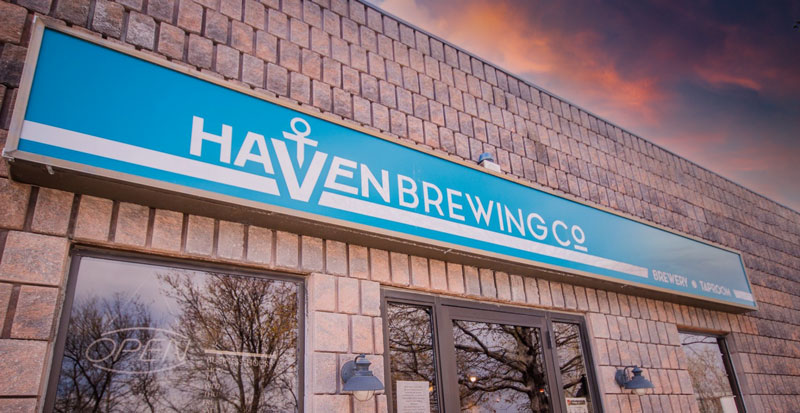 Haven Brewing Co's front lightbox signage.